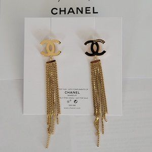 NEW CHANEL  CC chains Gold  Earrings